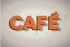 在老墙壁上的咖啡馆霓虹灯广告-咖啡符号 免版税库存图片