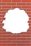 在老墙壁的孔,您的图片或文本的 免版税库存照片