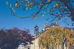 在老大厦的屋顶的古老钟楼有红色叶子、桔子和天空蔚蓝 秋天在山形县,日本,葡萄酒 库存照片