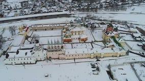 在老季赫温假定修道院空中录影 季赫温,俄罗斯 股票录像
