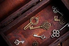 在老宝物箱里面的葡萄酒钥匙 库存照片