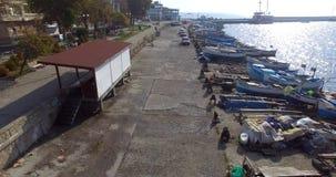 在老小船公园的鱼市在波摩莱,保加利亚 免版税图库摄影