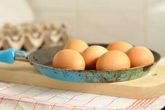 在老平底锅的未加工的鸡蛋 库存图片