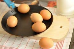 在老平底锅的未加工的鸡蛋 免版税库存图片