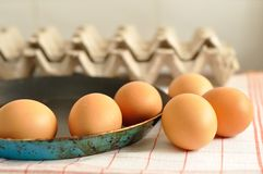 在老平底锅的未加工的鸡蛋 图库摄影