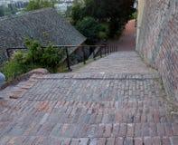 在老彼得罗瓦拉丁堡垒的楼梯 免版税库存照片