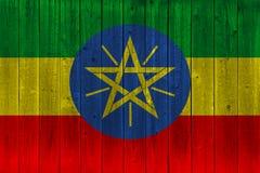 在老木板条绘的埃塞俄比亚旗子 向量例证
