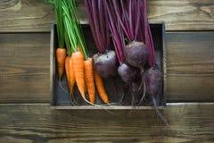在老木板的收获新鲜蔬菜 顶视图,土气样式 仍然秋天生活 从事园艺 复制空间 免版税库存图片