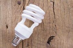 在老木树干的荧光灯电灯泡 免版税库存图片