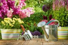在老木桌上的室外园艺工具 免版税库存图片