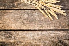 在老木纹理的秋天麦子 免版税库存图片