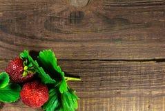 在老木背景的两个新鲜的草莓 库存照片