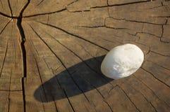 在老木背景的温泉装饰小卵石 库存照片