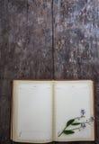 在老木背景说谎一个老笔记本和花束o 图库摄影
