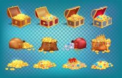 在老木胸口和织品袋子的金珍宝 免版税库存图片