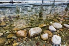 在老村庄Labeaume附近的河Ardeche 图库摄影