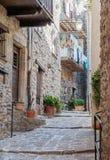 在老村庄Lyuseram使被修补的街道狭窄 免版税库存照片
