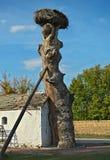 在老树旁边的小村庄与鹳巢 免版税库存图片