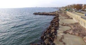 在老波摩莱的堤防的干燥海藻在秋天,保加利亚 库存照片