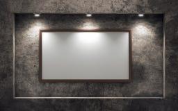 在老混凝土墙上的空的画框 库存图片