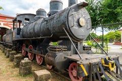 在老火车站的古色古香的火车在格拉纳达,尼加拉瓜 图库摄影