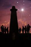 在老灯塔的夜 免版税库存照片