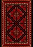 在老牌的明亮的地毯与红色和伯根地树荫 免版税库存图片