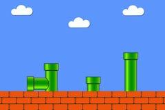 在老牌的电子游戏 比赛的减速火箭的显示背景与砖和管子或者管 向量 库存图片