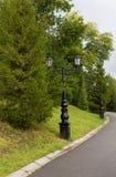 在老牌的街灯与锻铁两盏灯与卷毛的在长的腿黑色路灯柱和枝形吊灯 图库摄影