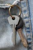 在老牛仔裤的口袋的钥匙 免版税库存照片