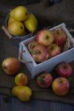 在老白色葡萄酒木箱的水多的果子 红色苹果和黄色梨 低调月光03 图库摄影