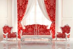 在老皇家内部的巴洛克式的沙发和扶手椅子 皇族释放例证