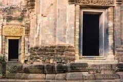 在老石城堡的两个窗口 库存照片