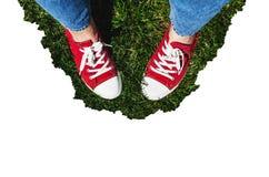 在老红色运动鞋的腿在绿草 在视图之上 co 免版税库存图片