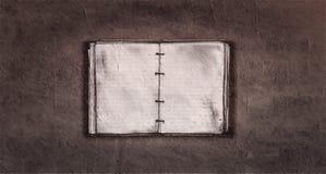 在老纸抽象桌面上的葡萄酒笔记本 库存例证
