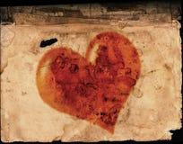 在老纸的华伦泰心脏 图库摄影