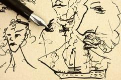 在老纸的钢笔与墨水手图画样品 图库摄影