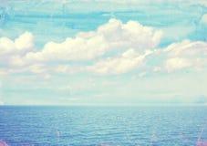 在老纸纹理的海景背景 免版税图库摄影