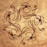 在老纸纹理的装饰花卉花圈 库存照片