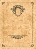 在老纸页的葡萄酒框架 库存图片