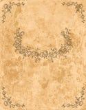 在老纸页的葡萄酒花卉框架 免版税库存照片