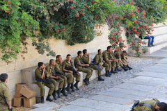 在老耶路撒冷里面的以军 免版税库存照片