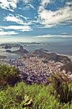 在老虎山的一个看法从Corcovado山在里约热内卢 免版税库存照片