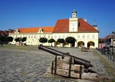 在老部分Tvrdja的古老军用战争大炮在奥西耶克克罗地亚镇,三位一体的正方形的建于时间 免版税库存照片
