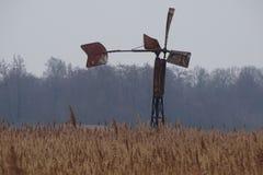 在老金属水车的看法芦苇领域的灌溉的 库存照片