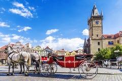 在老镇中心在布拉格,捷克的用马拉的支架 免版税库存图片