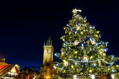 在老镇中心的圣诞节心情,布拉格,捷克 免版税图库摄影