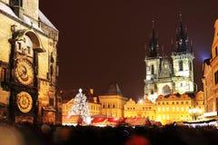 在老镇中心的圣诞节心情,布拉格 库存图片