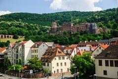 在老镇之外的海得尔堡城堡,德国 库存照片