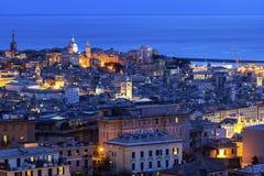 在老镇的看法在热那亚,意大利 库存照片